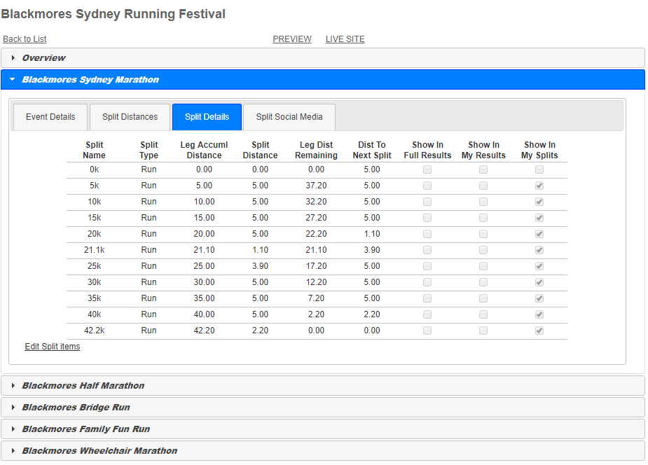 Multisport Configuration Screen